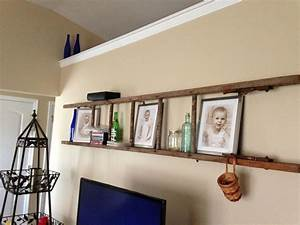 Repurposed old wooden ladder used quot l brackets to hang