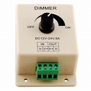 Manual Dimmer Switch 12v 24v 8a 96w Single Color Knob Led