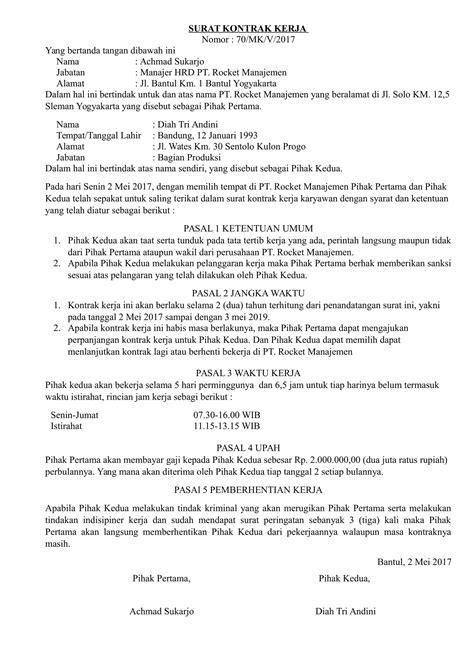 contoh surat kontrak kerja proyek hutstaff