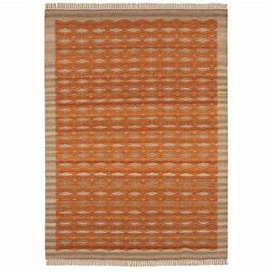 tapis contemporain kilim orange et beige en laine et jute With tapis laine contemporain