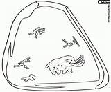 Cave Mammoth Hunting Painting Coloring Printable Game sketch template