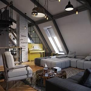 Three, Dark, Colored, Loft, Apartments, With, Exposed, Brick, Walls