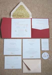 scarlet floral and gold glitter lined real diy wedding With diy wedding invitations with glitter