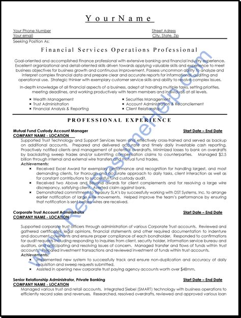 financial services operation professional resume sle