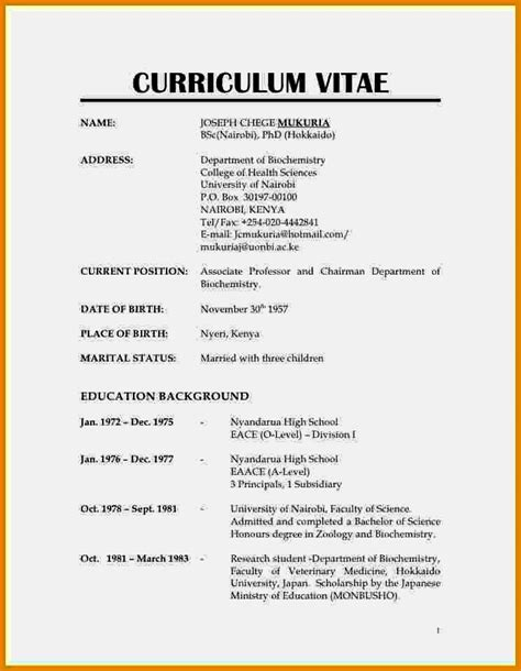 Cv Resume Format by Exle Of Normal Cv Format Resume Template Cover Letter