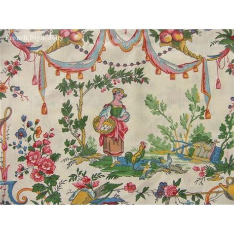 toile polyester impermeable au metre tissu coupon au m 232 tre toile de jouy vincennes multicouleur ebay