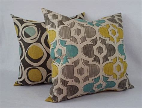 Brown Yellow And Blue Decorative Pillow Covers