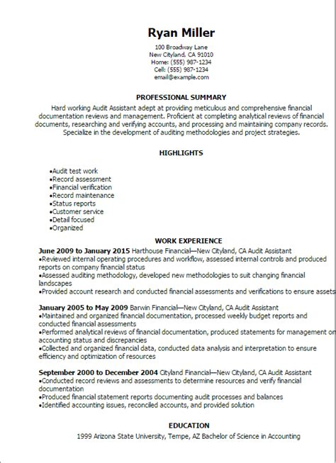 Audit Resume by Professional Audit Assistant Resume Templates To Showcase