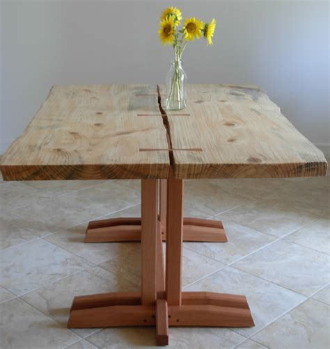 locally harvested pine slab dining table