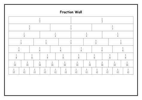 6 best images of printable fraction wall blank fraction