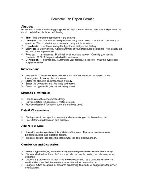 lab report format  environmental science lessons