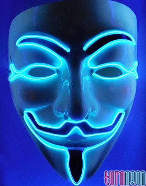 Rave Edm, Light Up Glow Neon Blue El Wire Led Guy Fawkes V