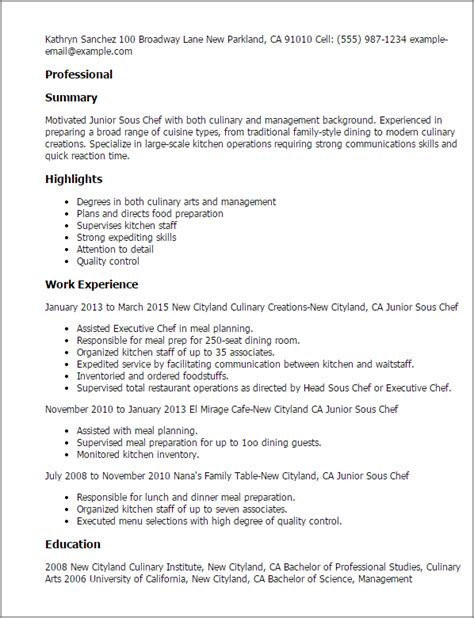 Exle Chef Cv by Junior Sous Chef Resume Telates For Mike Chef