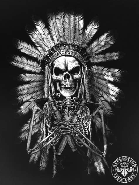 image-11   Affliction in 2019   Indian skull tattoos, Indian skull, Body art tattoos