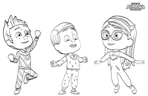 pj masks herois de pijama desenhos  colorir