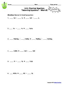 Predicting The Products Of Chemical Reactions Worksheet Worksheets For All  Download And Share