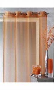 Kit Rayure Vitrage : voilage organza fines rayures horizontales orange ~ Premium-room.com Idées de Décoration