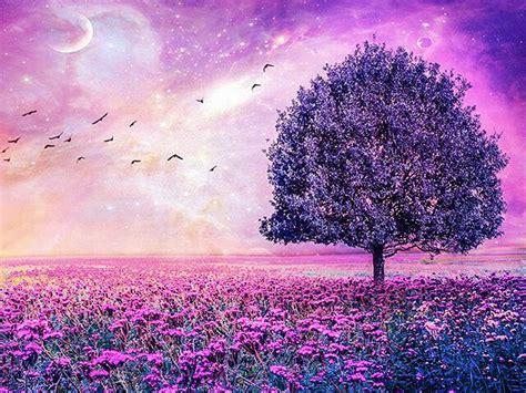 purple glowing tree  diamond painting kits oloee