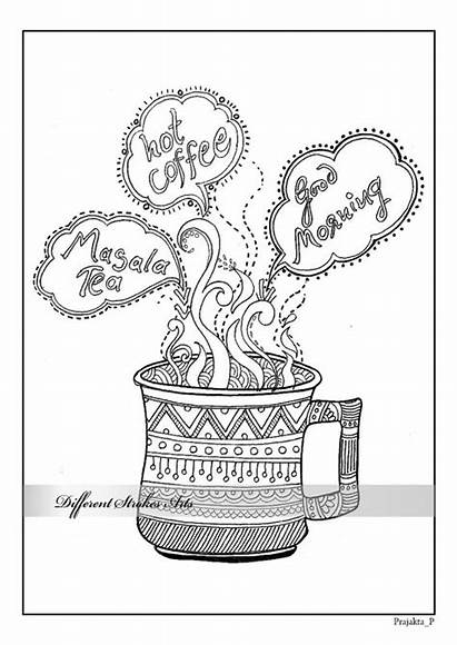 Coloring Adult Pages Coffee Printable Colouring Tea