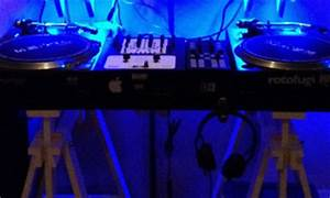 DJ Booth with Neon Lights DJ Setup at FunDJStuff