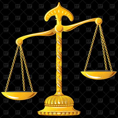 unbalanced ornate golden scales  justice vector image