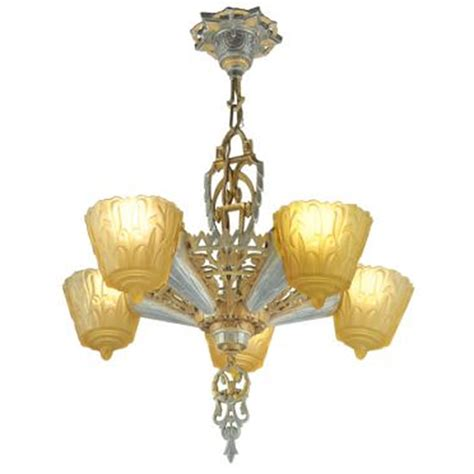 antique art deco ls antique art deco slip shade 1930s nile chandelier by