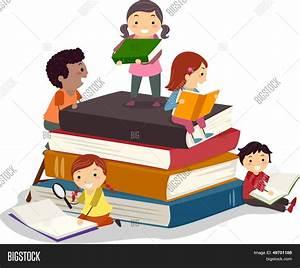 Stickman Illustration Featuring Kids Reading Books Stock ...