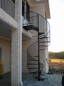 White Black Metal Spiral Staircase In One Wall Kitchen
