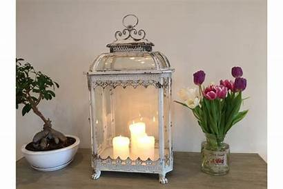 Lantern Candle Shabby Chic Glass Distressed
