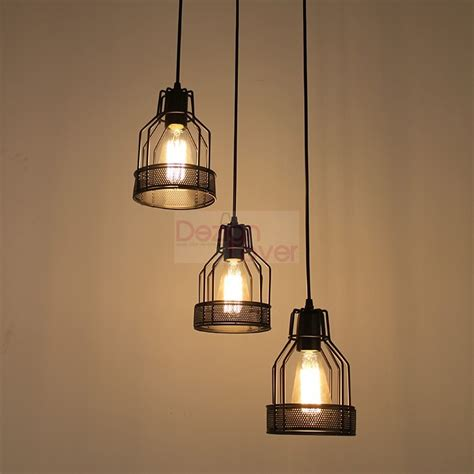 industrial cage 2 pendant l with edison bulbs by