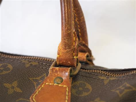 authentic louis vuitton monogram speedy  vintage leather