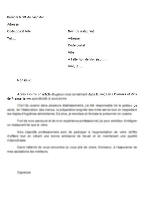 lettre de motivation aide de cuisine application letter sle modele de lettre de motivation ash