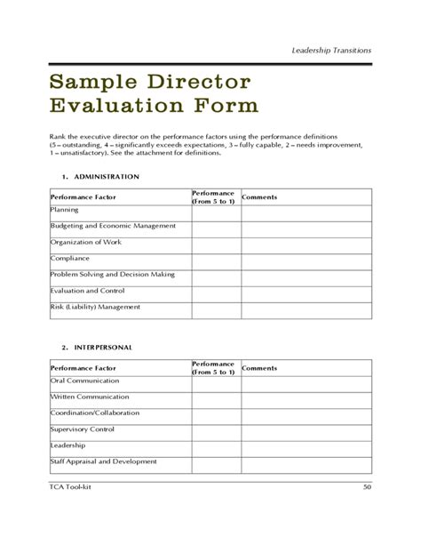 Leadership Evaluation Form Templates by Sle Director Evaluation Form Free