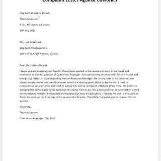 complaint letter  coworker writelettercom