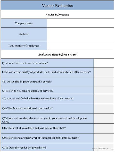 Evaluation Questionnaire Template by Vendor Evaluation