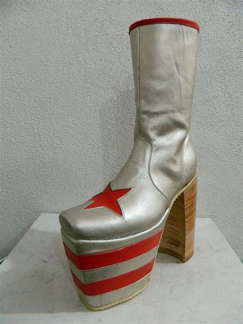 hand crafted platform glam rock era boots   leather