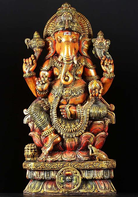 SOLD Seated Ganesh Wood Carving 36