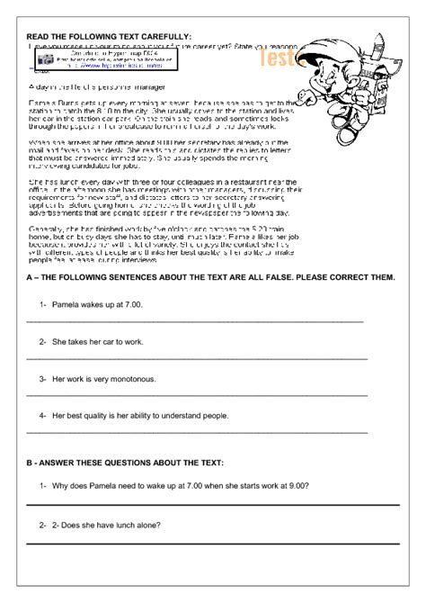 daily routines reading comprehension worksheet