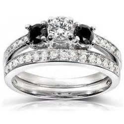 black wedding rings meaning 1 carat white and black wedding ring set in white gold jewelocean