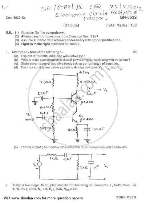 Question Paper Electronic Circuit Analysis Design
