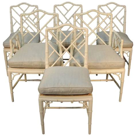 chippendale style set of six faux bamboo chairs for sale
