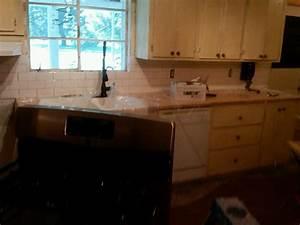 Our old quotgreenquot house weekend diy backsplash phase 1 for Tile backsplash without grout