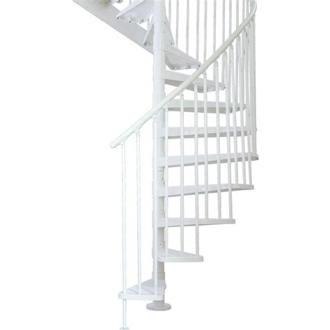 spiral staircase lowes shop dolle stockholm 61 in x 11 ft powder coat white spiral staircase kit at lowes com