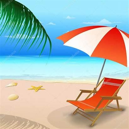 Umbrella Beach Chair Illustration Vector Summer Entertainment