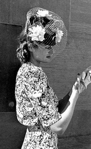 Printed Day Dress and Veiled Har c. 1942