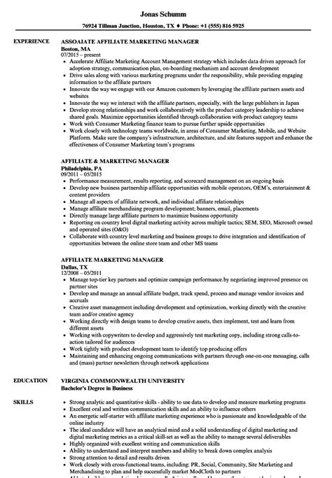 affiliate marketing manager resume sles velvet