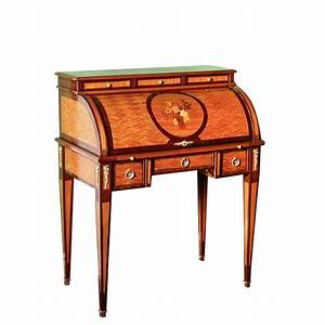 Secretaire cylindre forel style louis xvi bois de rose for Meuble louis xvi