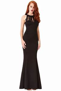 Open Back Lace Maxi Dress with Frill Detail - Black Open ...