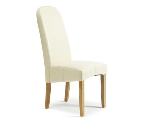 Mursley Cream Faux Leather And Oak Dining Chairs Frances