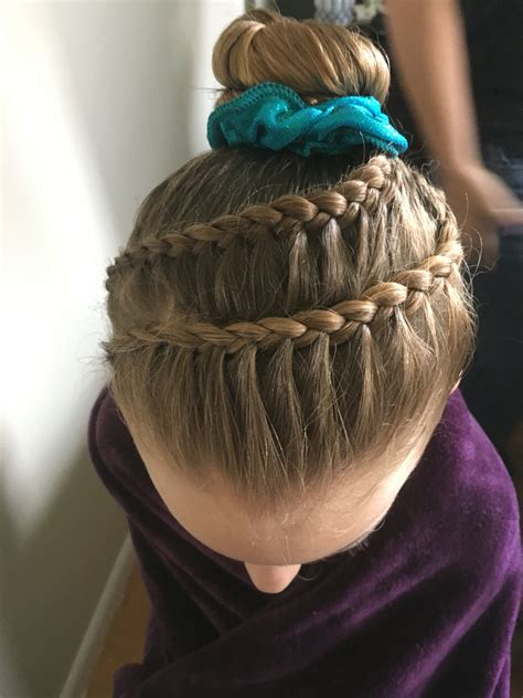 gymnastics competition hair braid acro coiffure
